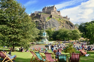 Princes street gardens in summer.Scotland.