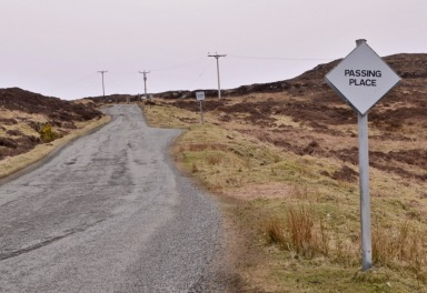 Single track road on Skye Scotland
