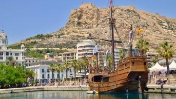 Santisima Trinidad, replica Galleon ship in Alicante Port. Spain.