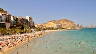 Alicante beach in July, Spain.