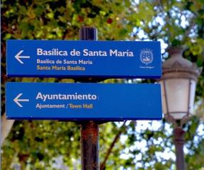 signs basilica of Santa Maria Alicante